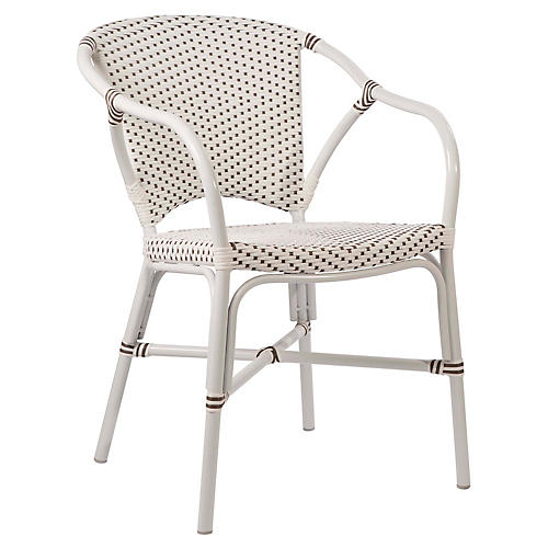 Valerie Outdoor Bistro Chair, White/Cappuccino