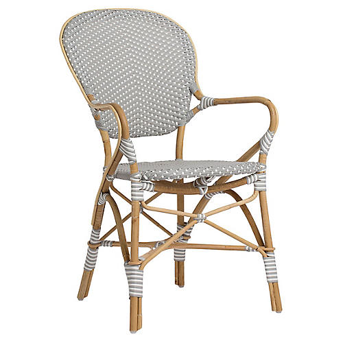 Isabell Bistro Armchair, Gray/White
