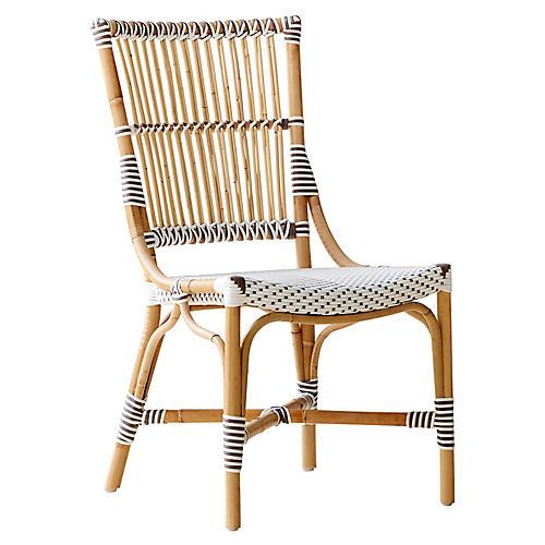 Monique Bistro Side Chair, White/Cappuccino