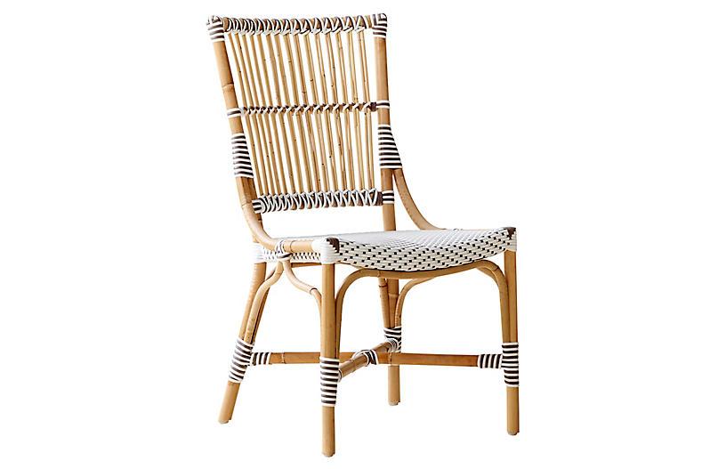 Monique Bistro Side Chair, White/Cappuccino