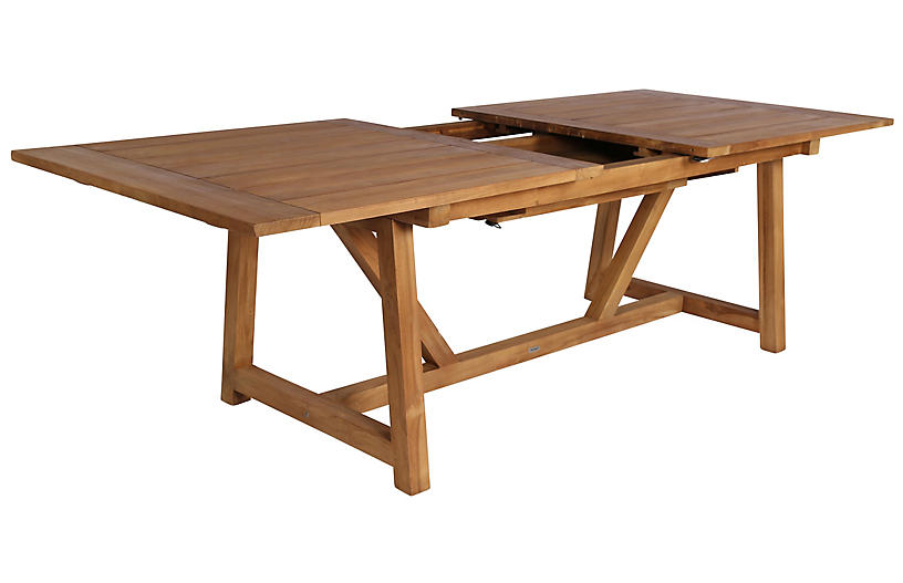 George Extension Outdoor Teak Dining Table, Natural
