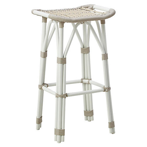 Salsa Outdoor Barstool, Dove White