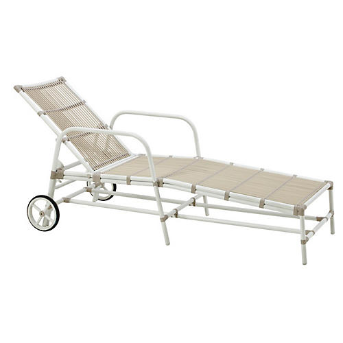 Josephine Outdoor Chaise, Dove White