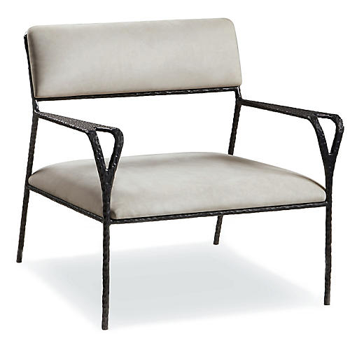Avalon Accent Chair, Taupe Leather