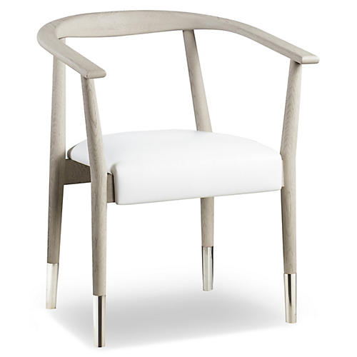 Soho Armchair, White Leather