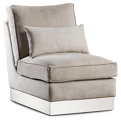Molly Slipper Chair, Beige Leather