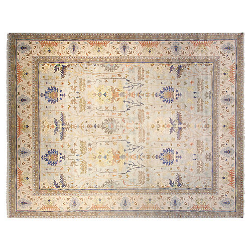 12'x15' Sari Wool Michelle Rug, Light Blue/Ivory