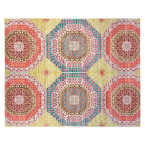 8'x10' Sari Wool Mamluk Rug, Green/Multi