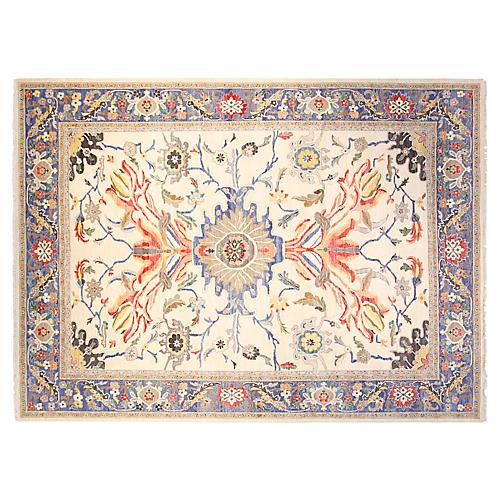 9'x12' Sari Wool Vienna Rug, Ivory/Blue