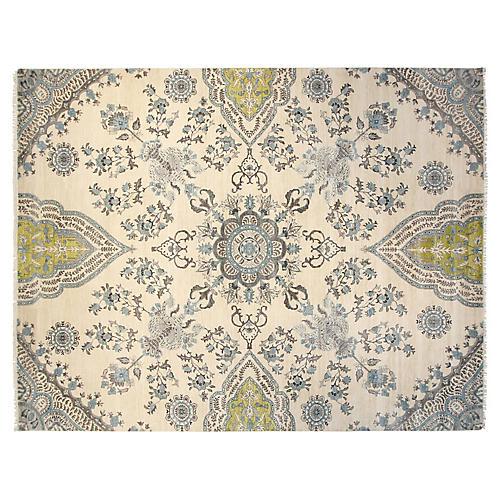 9'x12' Sari Wool Grace Rug, Ivory