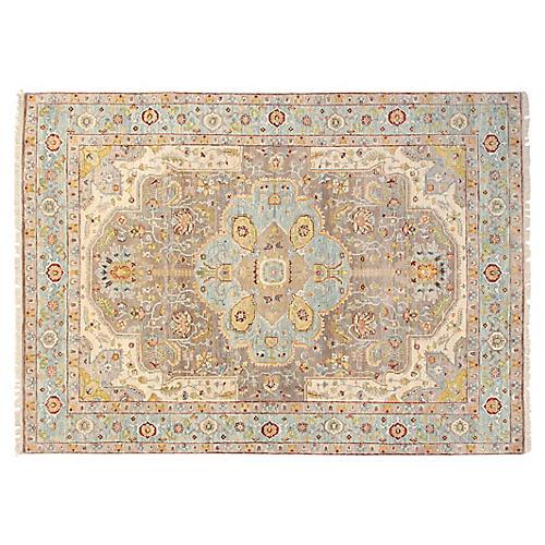 5'x7' Sari Wool Capri Rug, Gray/Teal