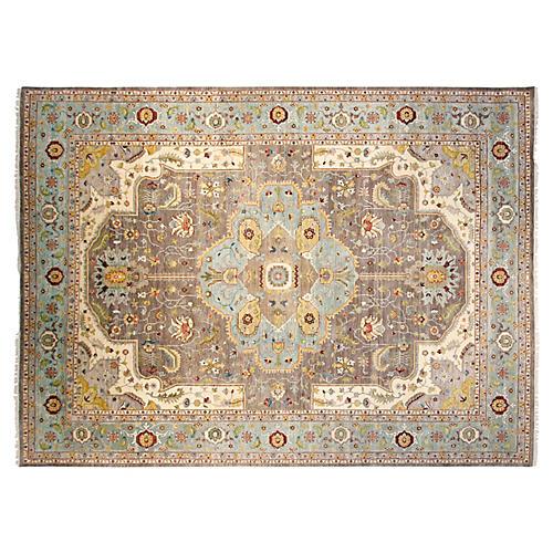 9'x12' Sari Wool Capri Rug, Gray/Aqua