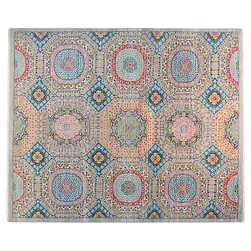 8'x10' Sari Wool Cassie Rug, Blue/Black