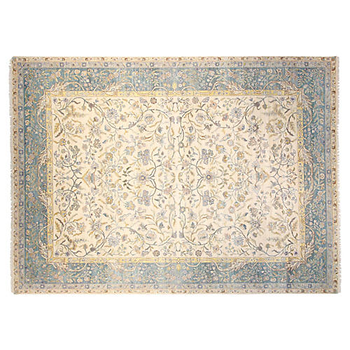 9'x12' Sari Wool Manor Rug, Ivory/Blue