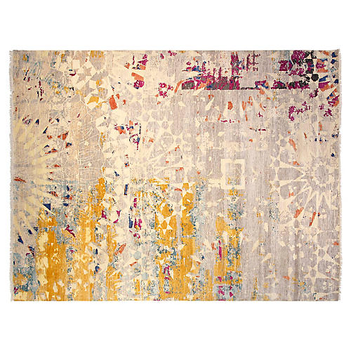 9'x12' Sari Wool Graphic Rug, Gray
