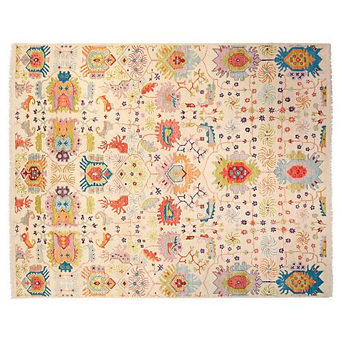 8'x10' Sari Wool Liam Rug, Ivory/Blue