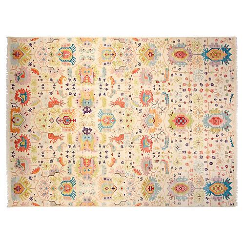 9'x12' Sari Wool Liam Rug, Ivory