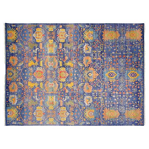 9'x12' Sari Wool Liam Rug, Indigo