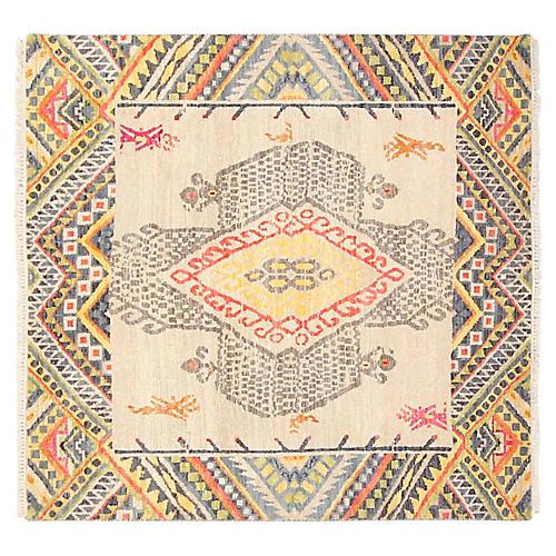 4'x4' Sari Wool Fashion Rug, Gray/Multi