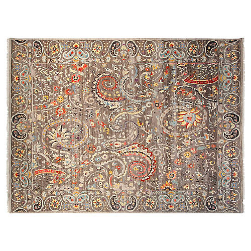9'x12' Sari Wool Fashion Rug, Gray