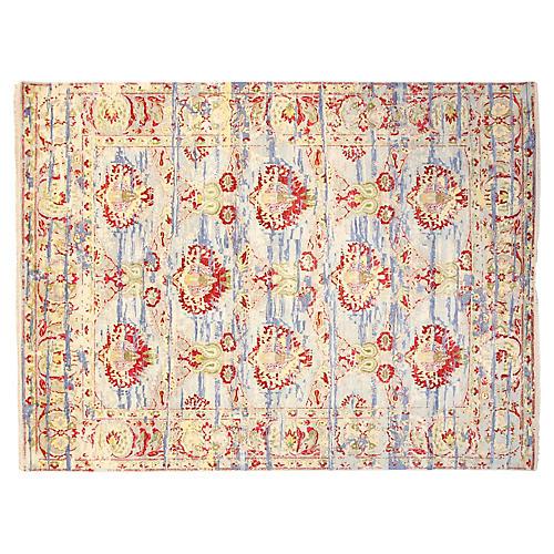 8'x10' Sari Wool Boca Rug, Beige/Multi