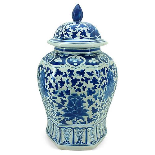 """23"""" Hexagonal Floral Ginger Jar, Blue/White"""