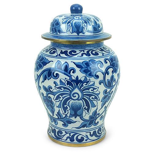 """11"""" Vine Ginger Jar, Blue/White"""