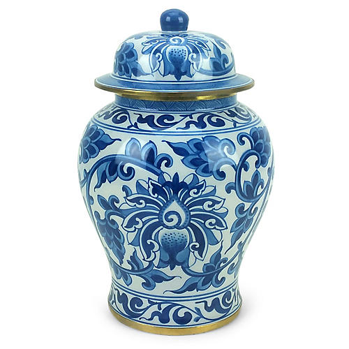 "11"" Vine Ginger Jar, Blue/White"