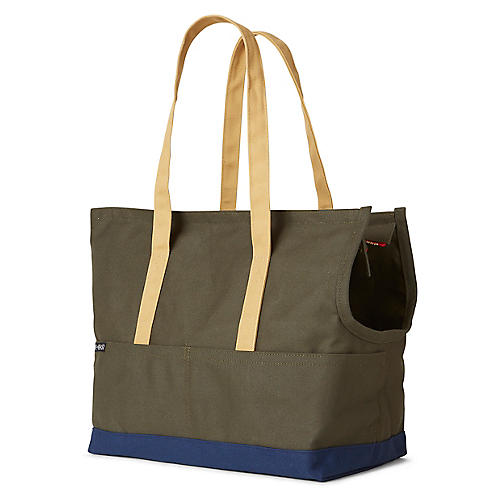 Canvas Pet Tote, Olive/Navy