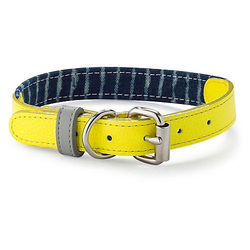 Leather & Canvas Collar, Yellow