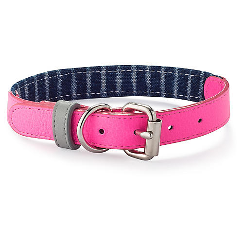 Leather & Canvas Collar, Pink