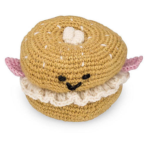 Bagel Knit Dog Toy, Cream