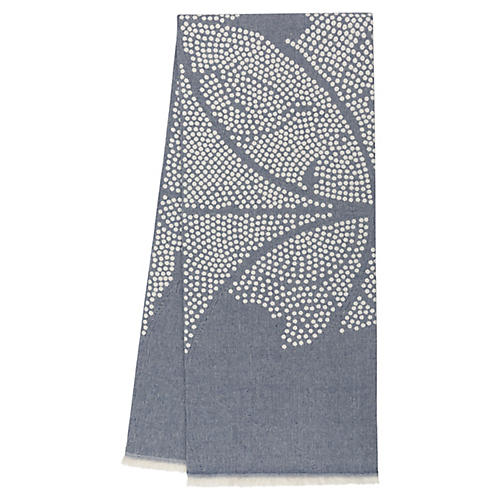 Atlas Reversible Cotton Throw, Indigo