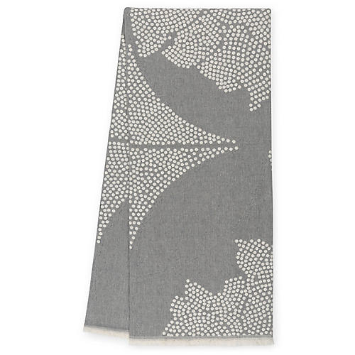 Atlas Reversible Cotton Throw, Pewter