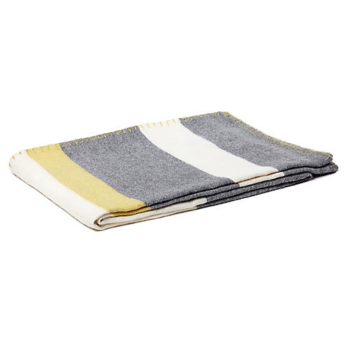 Block-Stripe Alpaca Throw, Charcoal/Citrus