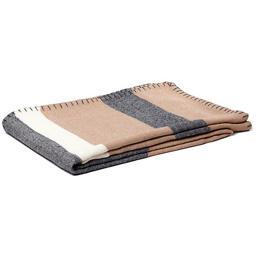 Block-Stripe Alpaca Throw, Camel/Charcoal