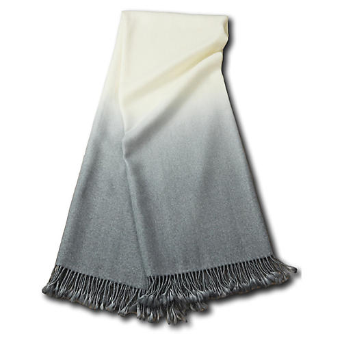 Dip-Dye Alpaca Throw, Light Gray