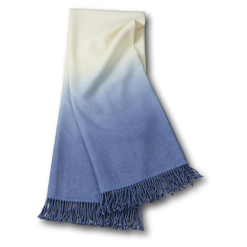 Dip-Dye Alpaca Throw, Periwinkle