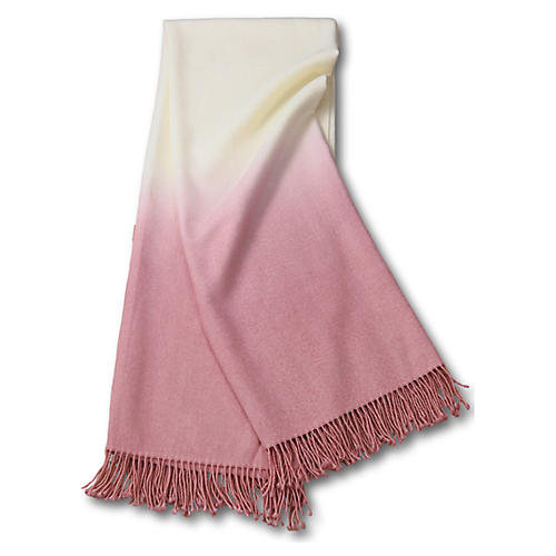 Dip-Dye Alpaca Throw, Dusty Rose