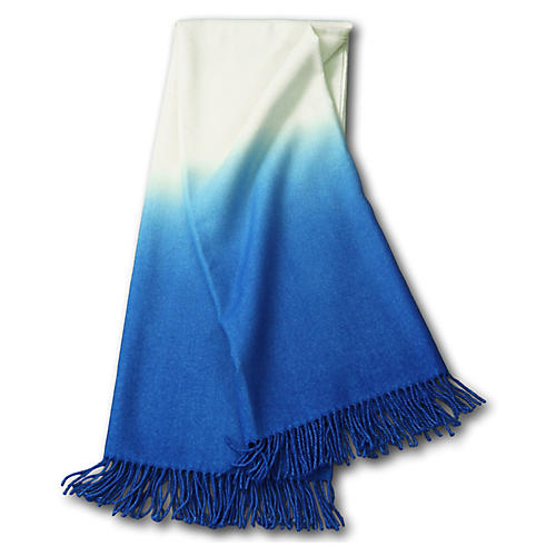 Dip-Dye Alpaca Throw, Cobalt