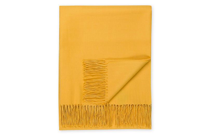 Madison Alpaca Throw, Golden Yellow