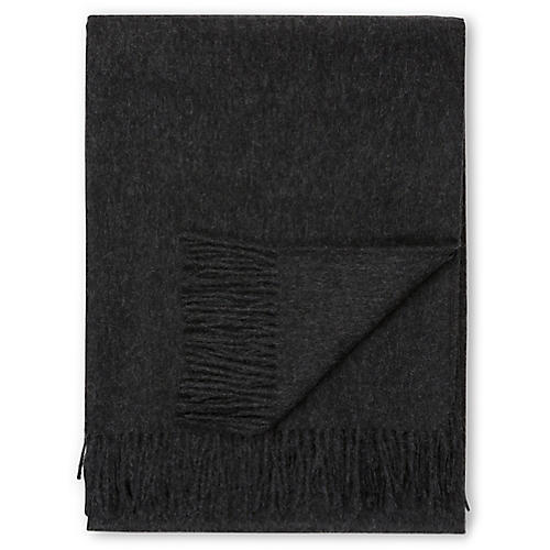 Madison Alpaca Throw, Charcoal
