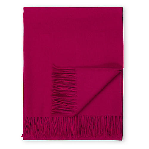 Madison Alpaca Throw, Raspberry