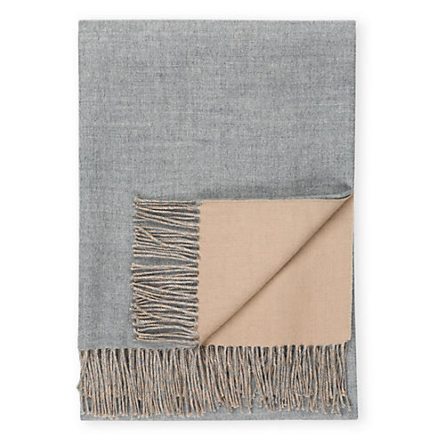 Reversible Alpaca Throw, Heather Gray/Light Camel
