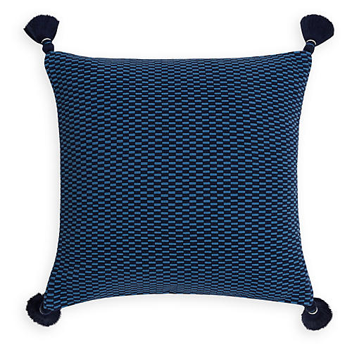 Ella 18x18 Pillow, Periwinkle/Navy