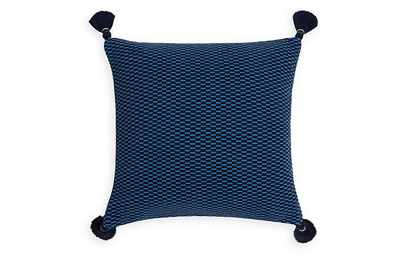 Ella 18x18 Pillow, Periwinkle/Navy