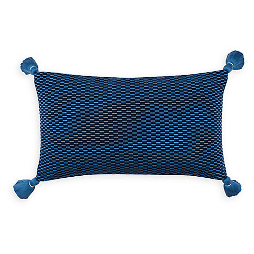 Ella 12x20 Lumbar Pillow, Periwinkle/Navy