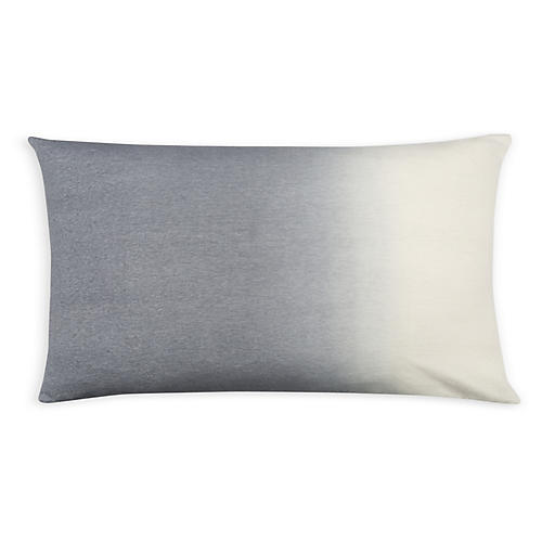 Dip-Dyed 14x22 Lumbar Pillow, Light Gray