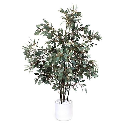 """50"""" Eucalyptus Tree w/ Planter, Faux"""