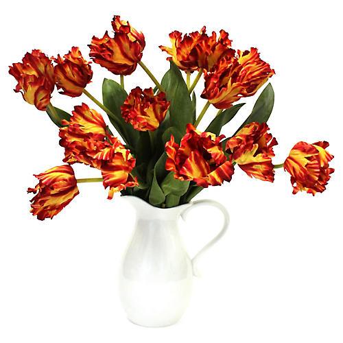 """25"""" Texas Flame Tulip Arrangement w/ Pitcher, Faux"""